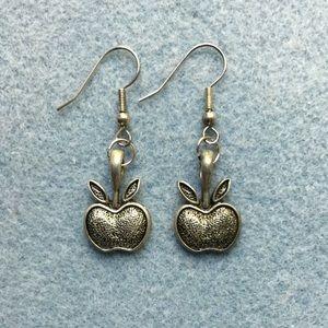 Pewter Apple Drop Earrings w Silver Plated Earwire